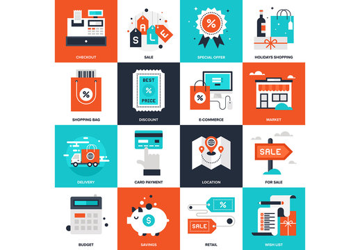 16 Four-Color Square Shopping Icons 2