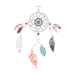 Cute hand drawn dreamcatcher with feather. Vector handdrawn doodle illustration