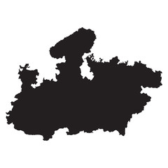 Madhya Pradesh black map on white background vector