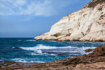 Rocks of white limestone of Rosh Ha Nikra