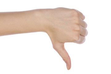 Girl hand showing thumb down failure hand sign gesture. Gestures and signs. Body language on white background.