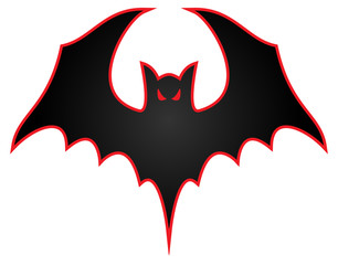 Bat with wings spread logo vector illustration