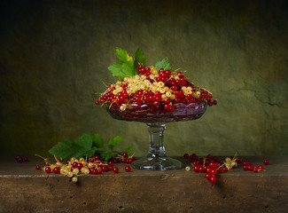 Still life with currants in a glass vase