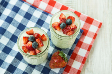 Yogurt With Strawberries and Blueberries Red White and Blue