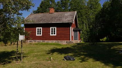 Fototapete - Mähroboter mäht Wiese vor schwedischem Ferienhaus