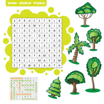 Trees themed word search puzzle
