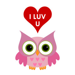 Owl with heart and text I love you