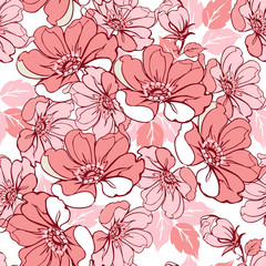 Rose seamless pink pattern. Decorative ornament backdrop for fabric, textile, wrapping paper