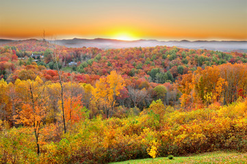 Autumn landscape in Blue Ridge Parkway, North Carolina USA