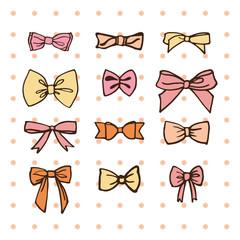 Set of hand drawn bows. Vector illustration.