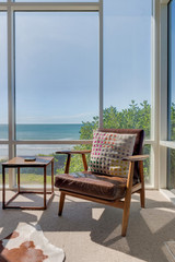 View of beach house chair and table