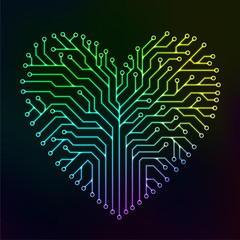 Circuit printed board in the shape of a heart