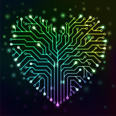 Circuit printed board in the shape of a heart with multicolor neon lights