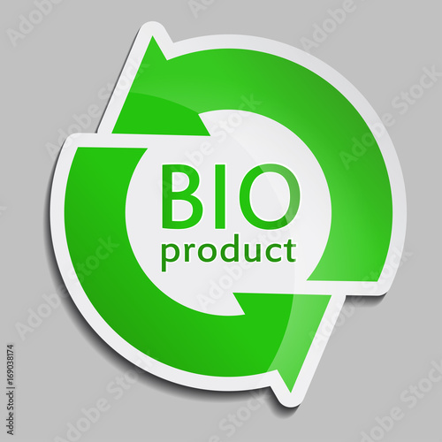 Green sticker BIO product  Vector Bio icon for packaging