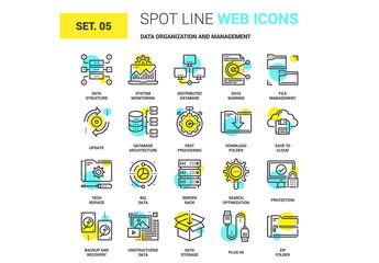 20 Yellow and Cyan Data Icons 1
