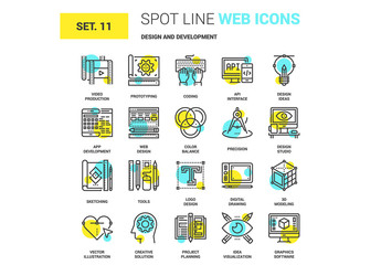 20 Yellow and Cyan Development Icons 1