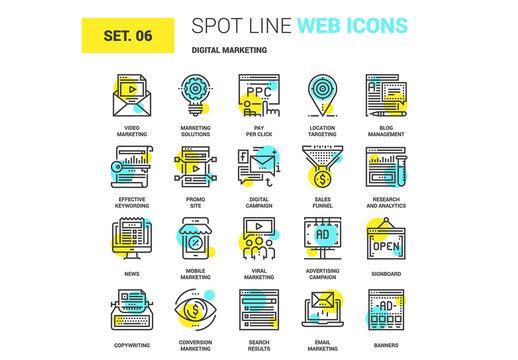 20 Yellow and Cyan Marketing Icons 2