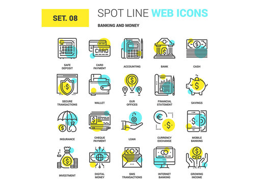 20 Yellow and Cyan Finance Icons 1