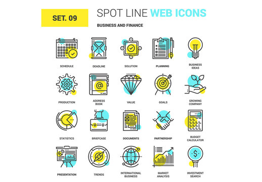 20 Yellow and Cyan Finance Icons 2