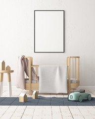 Mock up poster in the children's room. Children's room in Scandinavian style. 3d illustration.