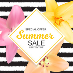 Summer Sale Banner with Lily Flowers. Cute Natural Background Ve