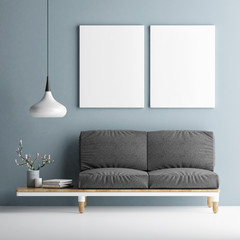 Sofa with two mock up posters on blue wall, 3d illustration