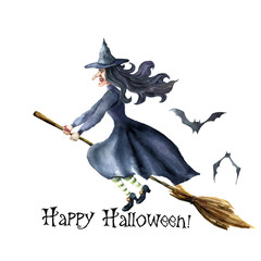 Watercolor Happy Halloween card. Hand painted Hand painted bats and witch flying on broomstick. Halloween illustration isolated on white background. For design, print or background.