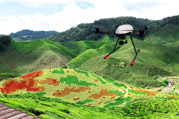 Smart agriculture , farm , precision farming concept. Drone and NIR images application screen used to create field health maps for normalize difference vegetation index in field.