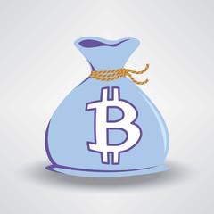Blue Bitcoin Money Bag