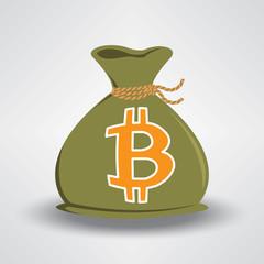 Green Bitcoin Money Bag