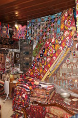 The interior of a  traditional Turkish carpet shop in fethiye, turkey,2017