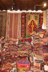 The interia of a traditional Turkish carpet shop in fethiye, turkey,2017