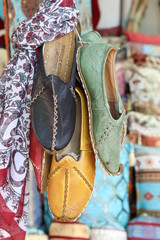 Colourful handmade Traditional Turkish Shoes On Display at a local bazaar