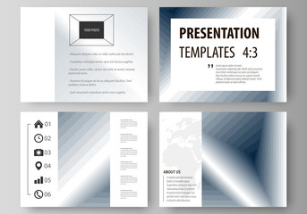 Set of business templates for presentation slides. Easy editable vector layouts in flat design. Simple monochrome geometric pattern. Abstract polygonal style, stylish modern background.
