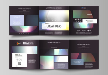 Set of business templates for tri fold square brochures. Leaflet cover, abstract flat layout, easy editable vector. Retro style, mystical Sci-Fi background. Futuristic trendy design.