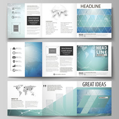 The minimalistic vector illustration of the editable layout. Three creative covers design templates for square brochure or flyer. Chemistry pattern, connecting lines and dots. Medical concept.