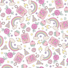 seamless pattern with rainbow and cupcakes