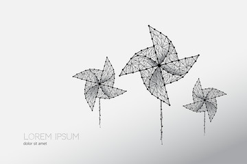 Abstract vector illustration of windmill.