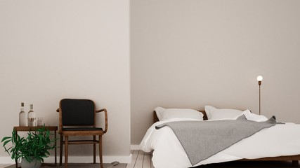 interior 3D rendering bedroom in hotel and furniture