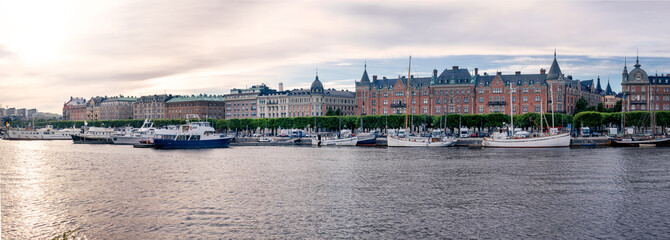 Panorama of Strandvagen in Central Stockholm.