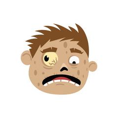 Scared zombie head avatar in cartoon style