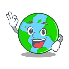 Okay world globe character cartoon