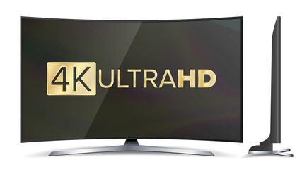 4k TV Vector Screen. UHD Sign. TV Ultra HD Resolution Format. Isolated Illustration