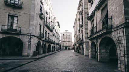 Old cobble stones square in Girona