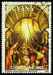 """Painting """"Pentecostes whitsun"""" by Titian on postage stamp"""