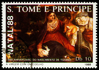 """Painting """"Virgin with rabbit"""" by Titian on postage stamp"""