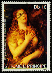 """Painting """"Penitent Maria Magdalene"""" by Titian on postage stamp"""