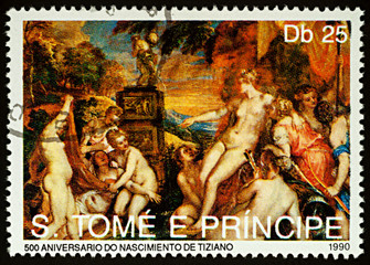 """Painting """"Diana and Callisto"""" by Titian on postage stamp"""