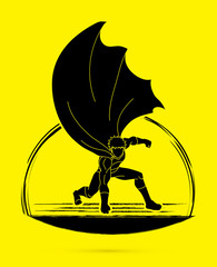Strong Man. Superhero landing powerful action graphic vector.