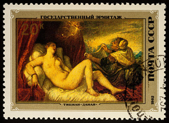 "Painting ""Danae"" by Titian on postage stamp"